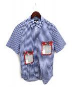 COMME des GARCONS Homme Plus(コムデギャルソンオムプリュス)の古着「マルチポケット半袖シャツ」|ホワイト×ブルー