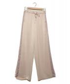GRACE CONTINENTAL(グレースコンチネンタル)の古着「サテンサイドラインパンツ」 ライトピンク