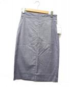MACPHEE(マカフィ)の古着「リネンコットンストレッチタイトスカート」|ネイビー