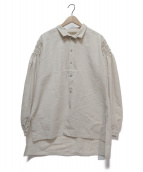 ROBES&CONFECTIONS(ローブスアンドコンフェクションズ)の古着「リネンシルクギャザーシャツ」 アイボリー
