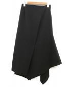 ENFOLD(エンフォルド)の古着「スクエアドレープスカート」 ブラック