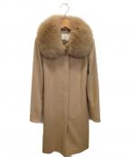 NATURAL BEAUTY(ナチュラルビューティー)の古着「ウールカシミヤファー付コート」 ブラウン