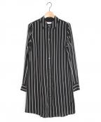 EQUIPMENT(エキップモン)の古着「ロングストライプシャツ」 ブラック