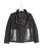 HELMUT LANG(ヘルムートラング)の古着「メルトンライダースジャケット」|ブラック