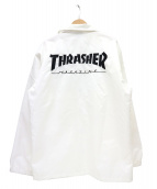 THRASHER(スラッシャー)の古着「ロゴ刺繍コーチジャケット」|ホワイト