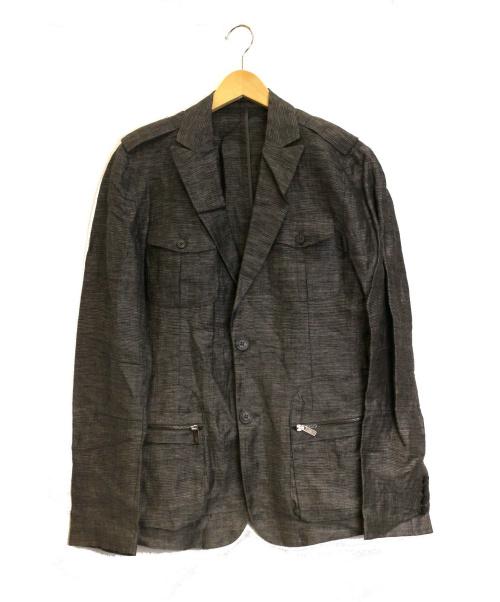 EMPORIO ARMANI(エンポリオアルマーニ)EMPORIO ARMANI (エンポリオアルマーニ) リネンジャケット グレー サイズ:Mの古着・服飾アイテム