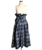UNITED TOKYO(ユナイテッドトーキョー)の古着「マドラスチェックハイウエストスカート」|ブルー