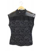 LANVIN COLLECTION(ランバンラコレクション)の古着「レース切替ハイネックノースリーブ」|ブラック
