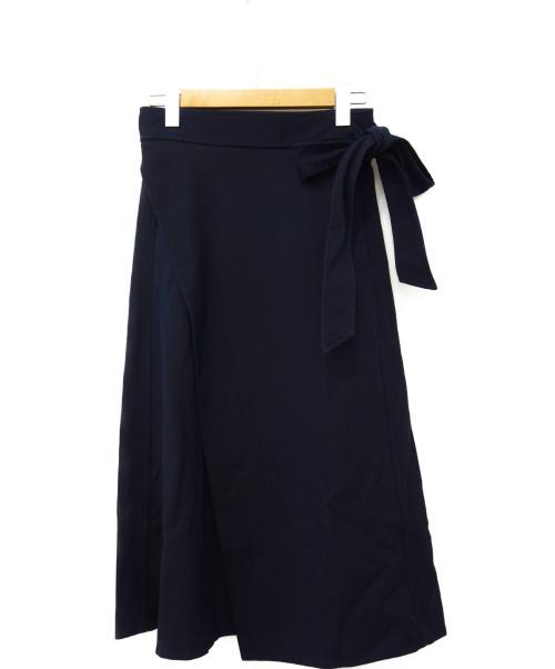 Drawer(ドゥロワー)Drawer (ドゥロワー) ラップロングスカート ネイビー サイズ:36の古着・服飾アイテム