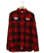 A BATHING APE(アベイシングエイプ)の古着「チェックネルシャツ」|レッド×ブラック