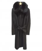BOSCH(ボッシュ)の古着「ファー付きリボンベルトコート」|ブラック