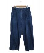 H.UNIT(エイチユニット)の古着「crown size tuck trousers パンツ」|インディゴ
