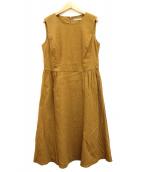 ()の古着「リネン混ノースリーブワンピース」|ブラウン