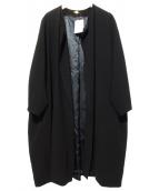 MUSE(ミューズ)の古着「トリアセジョーゼットノーカラーコート」|ブラック