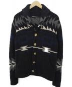 BAREFOOT DREAMS(ベアフットドリームス)の古着「ネイティブ柄ショールカラーカーディガン」|ブラック