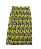 Demi-Luxe BEAMS(デミルクスビームス)の古着「チュール刺繍スカート」|ブラック×イエロー