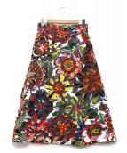 MAX&Co.(マックスアンドコー)の古着「ランダムアートスカート」|レッド