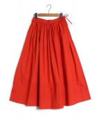 Drawer(ドゥロワ)の古着「ウエストコードギャザースカート」|レッド