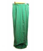 CINOH(チノ)の古着「ストライプラップスカート」|グリーン