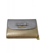 MIU MIU(ミュウミュウ)の古着「3つ折り財布」|シルバー×ゴールド