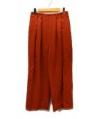 ELIN(エリン)の古着「ウールジョーゼット2タックパンツ」|オレンジ