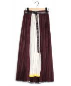 PONTI(ポンティ)の古着「プリーツレイヤードロングスカート」|ボルドー