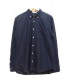 BLACK LABEL CRESTBRIDGE(ブラックレーベルクレストブリッジ)の古着「ロゴ刺繍ボタンダウンシャツ」 ネイビー