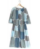 mina perhonen(ミナ ペルホネン)の古着「ギャザーワンピース」|ブルー