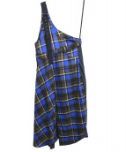 AULA AILA(アウラアイラ)の古着「チェックワンショルダージャンパースカート」|ブルー