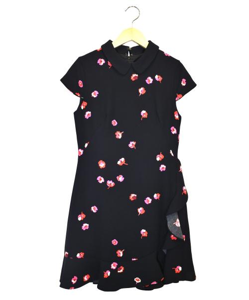 Kate Spade(ケイトスペード)Kate Spade (ケイトスペード) フラワープリントワンピース ブラック サイズ:0の古着・服飾アイテム