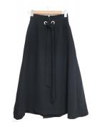 LE CIEL BLEU(ルシェルブルー)の古着「ビッグレースアップフロウスカート」|ブラック