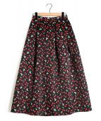 Tsuru by Mariko Oikawa(ツルバイマリコオイカワ)の古着「チェリー柄タックフレアスカート」|ブラック