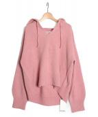 Snidel(スナイデル)の古着「ボタニカルカラーフードニット」|ピンク