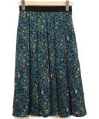 ANAYI(アナイ)の古着「レオパードプリントフレアスカート」|グリーン