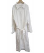 i-sook(アイスー)の古着「リネンシングルロングコート」|ホワイト