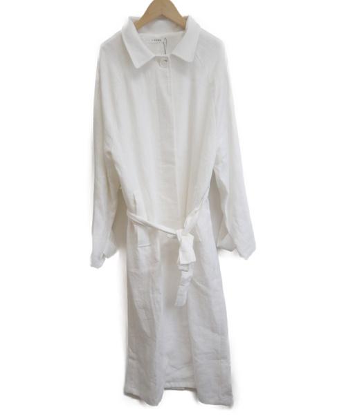 i-SOOK(アイスー)i-sook (アイスー) リネンシングルロングコート ホワイト サイズ:FREEの古着・服飾アイテム