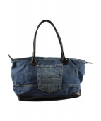 HTC(エイチティーシ)の古着「ヴィンテージリメイクデニムパッチトートバッグ」|インディゴ