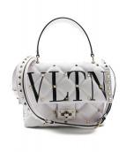 VALENTINO(バレンチノ)の古着「18SS/VLTNキャンディスタッズミディアムハンドルバッグ」|ホワイト