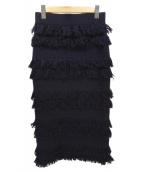 ELIN(エリン)の古着「フリンジニットスカート」|ネイビー