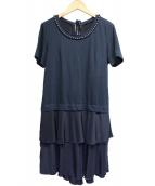 MUVEIL(ミュベール)の古着「パール刺繍ワンピース」|ネイビー