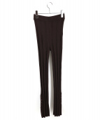 Ameri VINTAGE(アメリビンテージ)の古着「アンクルボタンリブパンツ」|ブラウン