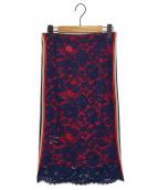 PINKO(ピンコ)の古着「レーススカート」|ネイビー