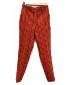 AKIRA NAKA(アキラ ナカ)の古着「ラメツイードパンツ」|レッド