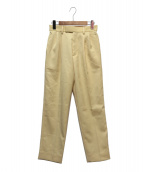 KU-UM×CHIKA(クウム×チカ)の古着「テーパードツータックパンツ」|イエロー