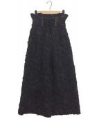 GYF TOKYO(ギャフ トーキョー)の古着「3D JACQUARD HIGH WAIST PANTS」|ブラック