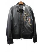 DSQUARED2(ディースクエアード)の古着「ピンバッチレザージャケット」|ブラック