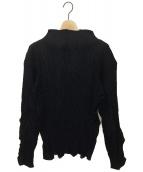 ISSEY MIYAKE(イッセイミヤケ)の古着「ボトルネックプリーツブラウス」|ブラック