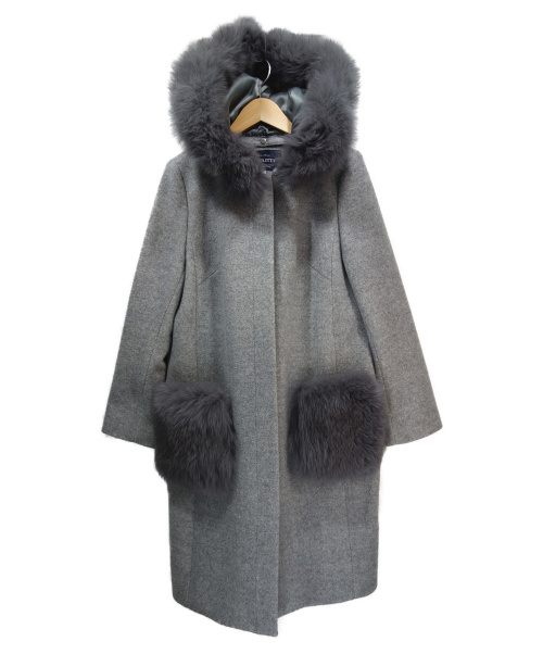 JUSGLITTY(ジャスグリッティー)JUSGLITTY (ジャスグリッティー) ポケットファーコート グレー サイズ:1の古着・服飾アイテム