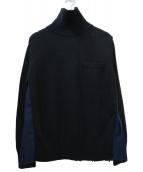 sacai(サカイ)の古着「バックフレアプリーツタートルニット」|ブラック