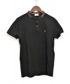 Saint Laurent Paris(サンローランパリ)の古着「レザーカラー鹿の子ポロシャツ」|ブラック